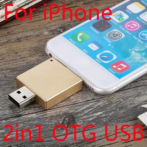 2in1 Новый OTG USB Flash Drive 512 ГБ Для Iphone Ipad, 16 ГБ 32 ГБ 64 ГБ Диск На Ключ Pendrive Mini Memory Stick 1 ТБ 2 ТБ Флэш-Карты
