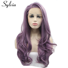 sylvia purple body wave synthetic lace front wig with free parting natural look purple heat resistant fiber hair for white woman