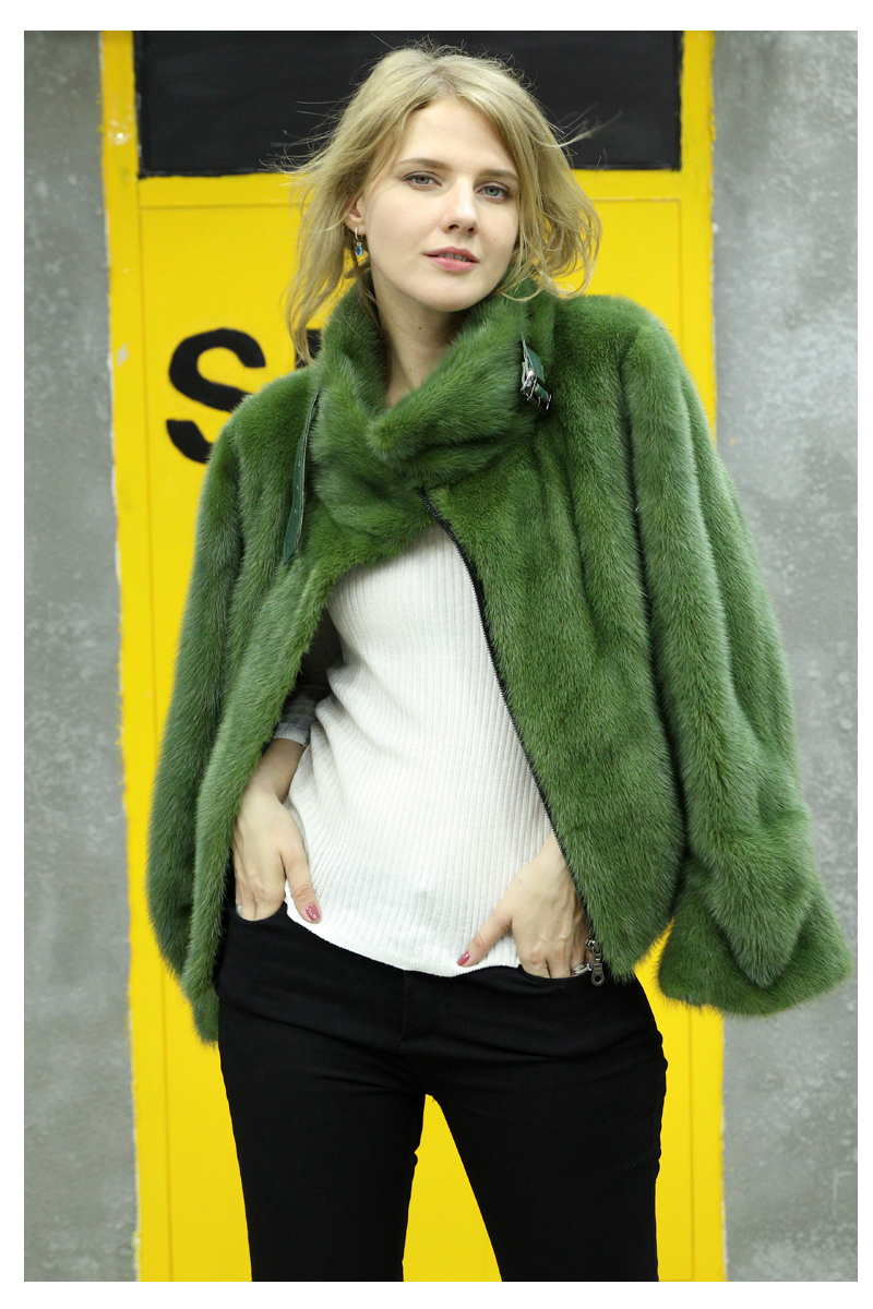 Women Winter Real Mink Fur Coat Short Style Ladies Motorcycle Suits Import Mink Fur Outerwear Mink Fur Jacket Female