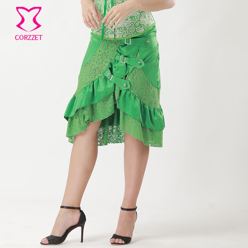 6XL Green Hollow Out Floral Lace Satin Asymmetrical Ruffles Punk Rave Gothic Skirt Plus Size Vintage Steampunk Skirts For Women