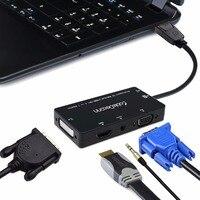 4 in 1 VGA HDMI DVI DisplayPort Ses Kablosu Adaptörü Dönüştürücü DP hub PC hdtv Için