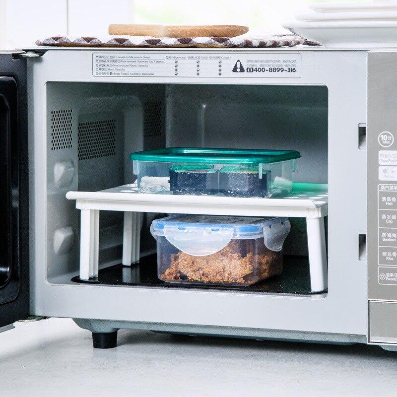 Image 3 - Microwave oven rack Foldable Kitchen Organizer Cupboard Storage Shelf Refrigerator Rack House Dish Holders Plastic  Rack-in Racks & Holders from Home & Garden