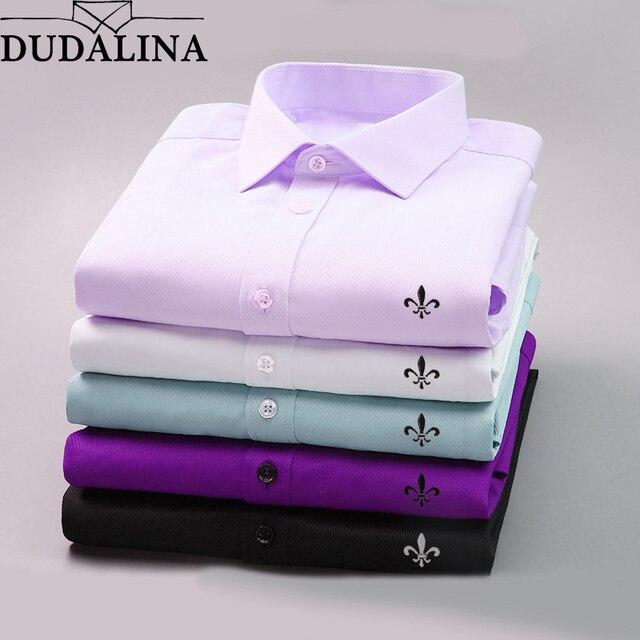 4cabba4155 DUDALINA 2018 Homens Casuais de Manga Comprida Sólidos shirt Slim Fit Negócios  Vestido de Camisa Social