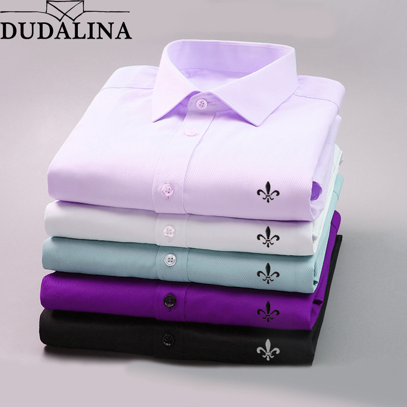 DUDALINA 2018 Men Casual font b Long b font Sleeved Solid shirt Slim Fit Male Social