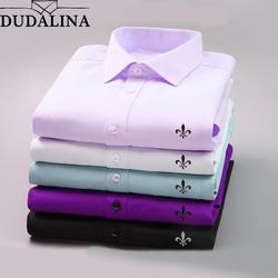 DUDALINA 2018 для мужчин повседневное с длинными рукавами Однотонная рубашка Slim Fit мужской социальной платье в деловом стиле брендовая