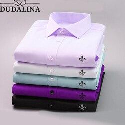 Dudalina 2019 Homens Casuais de Manga Comprida Sólidos shirt Slim Fit Negócios Vestido de Camisa Social Masculina Marca de Roupa Dos Homens Macio E Confortável