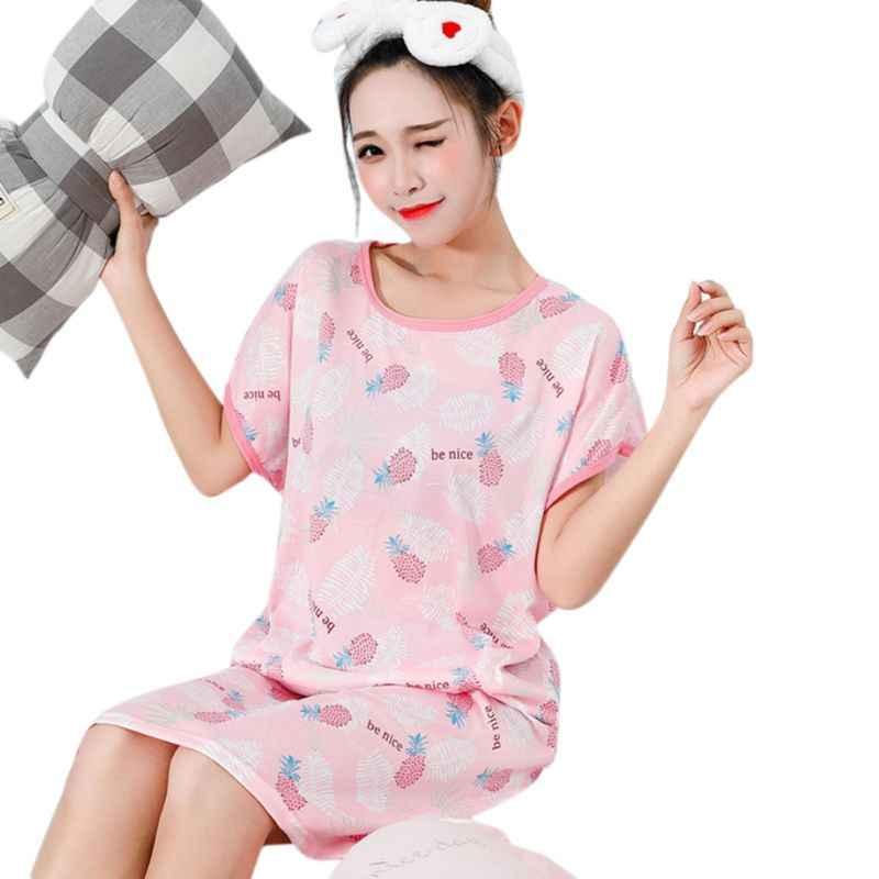 Женское свободное платье для сна средней длины с коротким рукавом и круглым вырезом; пуловер; ночная рубашка с милым рисунком; цветная одежда для сна хлопок