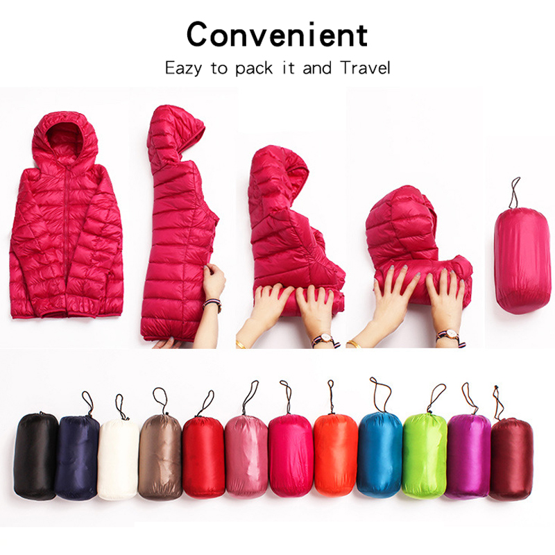 Down jacket women hooded 95% duck down coat Ultra Light warm large size Female Solid Portable stand collar down jacket winter 5