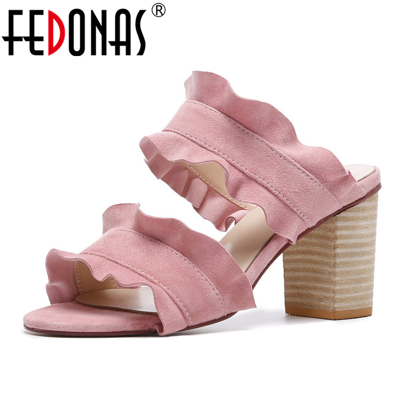 FEDONAS 2020 Summer Women Suede High Quality Ruffles Cute Wedding Party Shoes Fashion Comfort Sandals Ladies