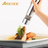 ABEDOE 2 em 1 Aço Inoxidável Moinho de Pimenta Elétrico Sal Tempero Moedor de Ferramenta Da Cozinha Pimenta Herb Moinho Pepermolen com ajustável
