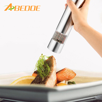 ABEDOE 2 In 1 Electric Stainless Steel Pepper Mill Salt Spice Grinder Kitchen Tool Pepper Herb