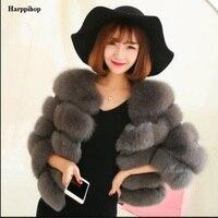Harppihop Kadınlar Sıcak Gerçek Fox Kürk Kısa Kış Kürk Ceket Giyim Kadınlar için Doğal Mavi Tilki Kürk Mantolar C-423