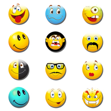 12pcs Emoji Face Expressions Fridge Magnet Funny Glass Dome Magnetic Refrigerator Stickers Holder 25MM/30MM