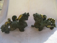 1 Pair of Chinese Old Bronze Gold gilt Carved brave troops Statue/ Antique Pi Xiu Animals Sculpture
