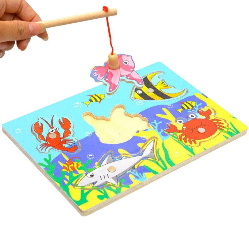 Wooden Magnetic Fishing Game Puzzle Toys Toddlers Kids Children Educational Fish Parent-child Interaction Toy