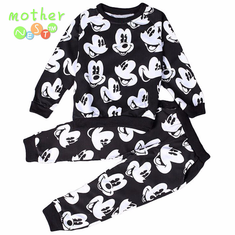 2017 Baby Boys Girls Fashion Sport Suit Kids Mickey Clothes Children's Sweater + Trousers two pieces Clothing Set Cotton Jerseys 2017 new boys clothing set camouflage 3 9t boy sports suits kids clothes suit cotton boys tracksuit teenage costume long sleeve