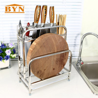 BYN Kitchen Use Stainless Steel Kitchen Knives Rack Storage Knife Stand Stainless Steel knife Rack Standing Organizer DQ9022 2