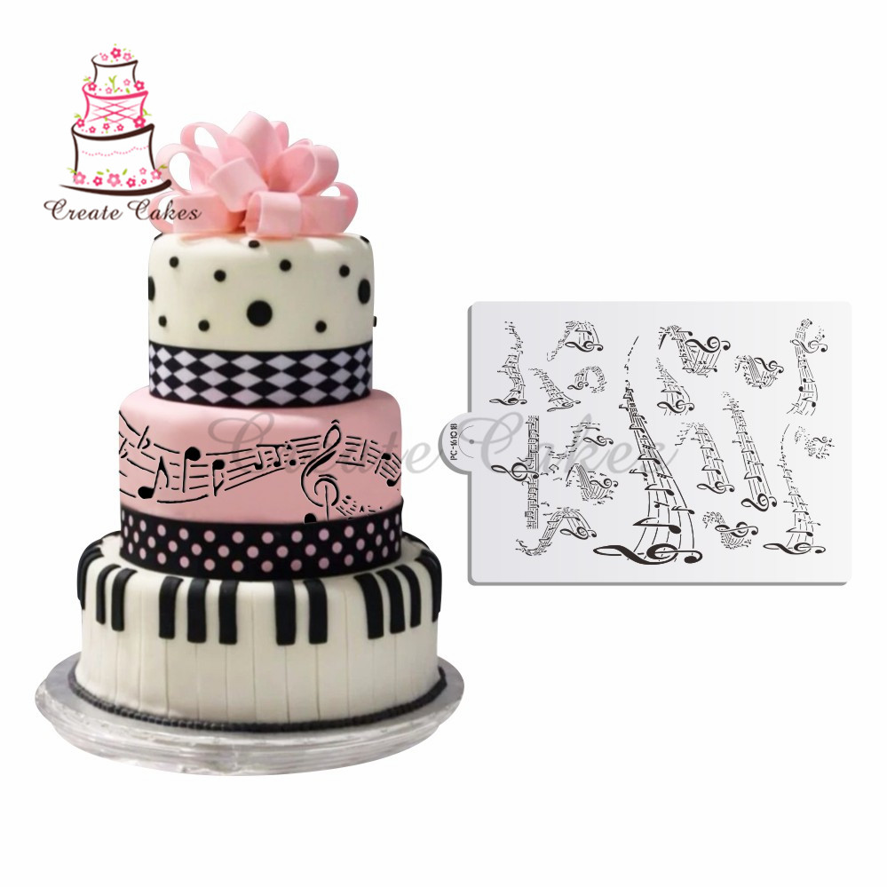Musical Not Stencil For Celebration CakeWedding Cake Decoration Cookies Plastic Template Mold Fondant DIY Tools St 769