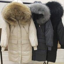 冬パーカー女性の冬のジャケットの女性フード付き暖かいロングホワイトダックダウンジャケット厚いコート 大リアルラクーン毛皮の襟 2020