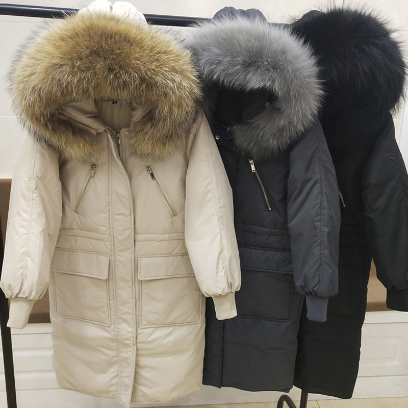 Large Real Raccoon Fur Collar 2019 Winter Parka Female Winter Jacket Women Hooded Warm Long White Duck   Down   Jacket Thick   Coat