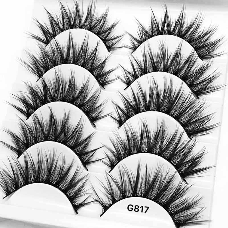 4e537636054 Natural False Eyelashes 5 Pairs 3D Wispy Mink Strip Lashes Mink Lash  Extension Trays Russian Volume