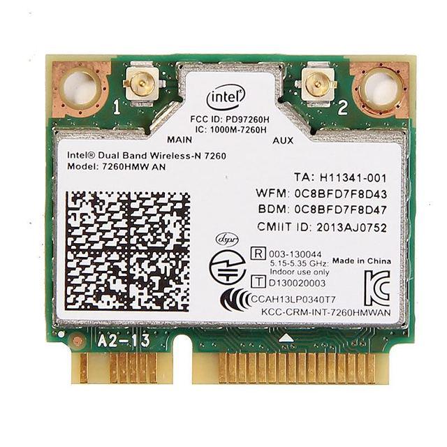 Dual band For Intel Wireless N 7260 7260HMW AN Half Mini Pci e 300Mbps Wireless Wifi + Bluetooth 4.0 Notebook Wlan card