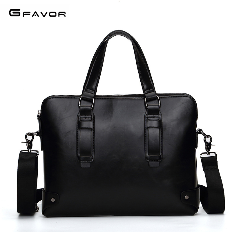 G-FAVOR Men Bag Briefcase Male Crazy Horse Leather Briefcases Men 13inches Handbag Laptop Briefcase Male Laptop Messenger Bag