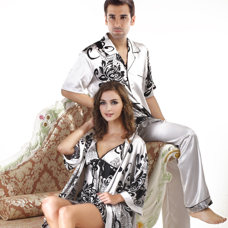 Högkvalitativ män Satin Nattkläder Casual Stil Sommarsilkpar Plusstorlek Satin Pyjamasuppsättning Mens Pyjamas Plus Storlek XXXL