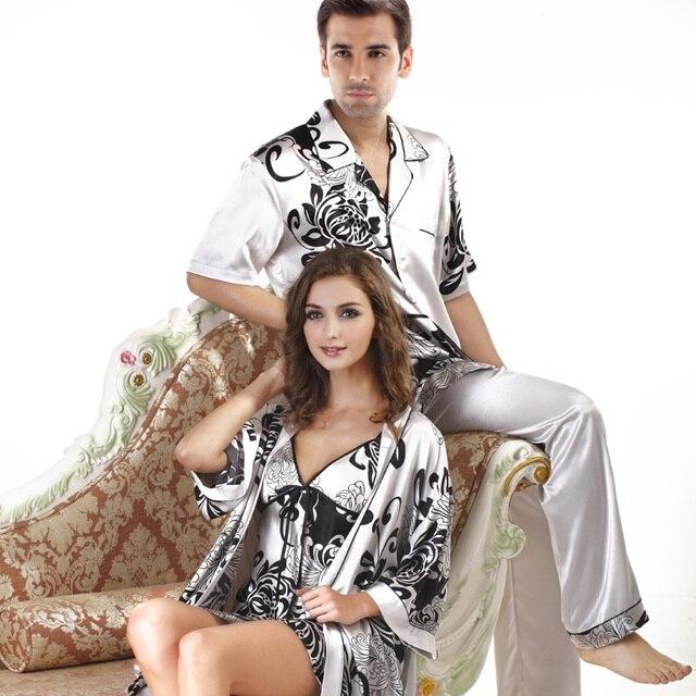 7eaf370de30ab Top Quality Men s Satin Sleepwear Casual Style Summer Silk Couples Plus  Size Satin Pajama Set Mens