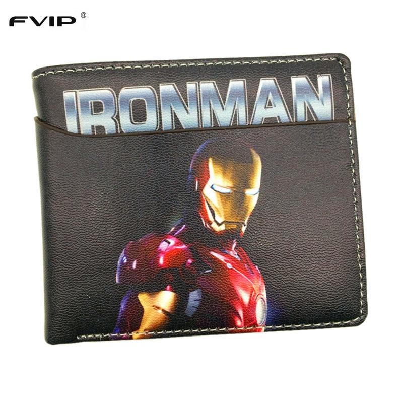 Fvip Новинка 2017 года Дизайн Marvel бумажник Герой Мстители Железный человек/Человек-па ...