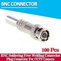 100 unids/lote Conector Macho BNC para RG-59 Cable Coaxical, latón Final, Crimp, Cable Atornillado, cctv cámara bnc