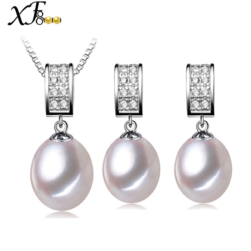 XF800 Wedding Pearl Jewelry Set Natural Freshwater Pearl Necklace Pendant Earrings Trendy Party Gift For
