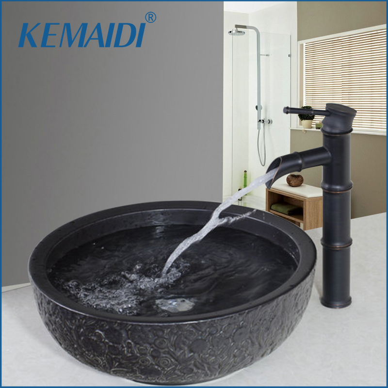 KEMAIDI Ceramic Washbasin Vessel Lavatory Basin Bathroom Sink Bath Combine Brass Vessel Vanity Tap Mixer Faucet & Pop-up Drain
