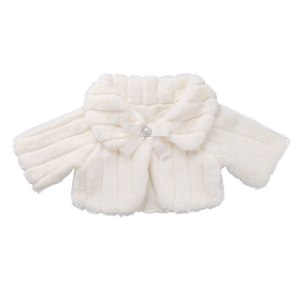 TiaoBug Girls Faux Fur Bolero Shrug Cardigan Cover up Princess Wedding Party Jacket Cloak