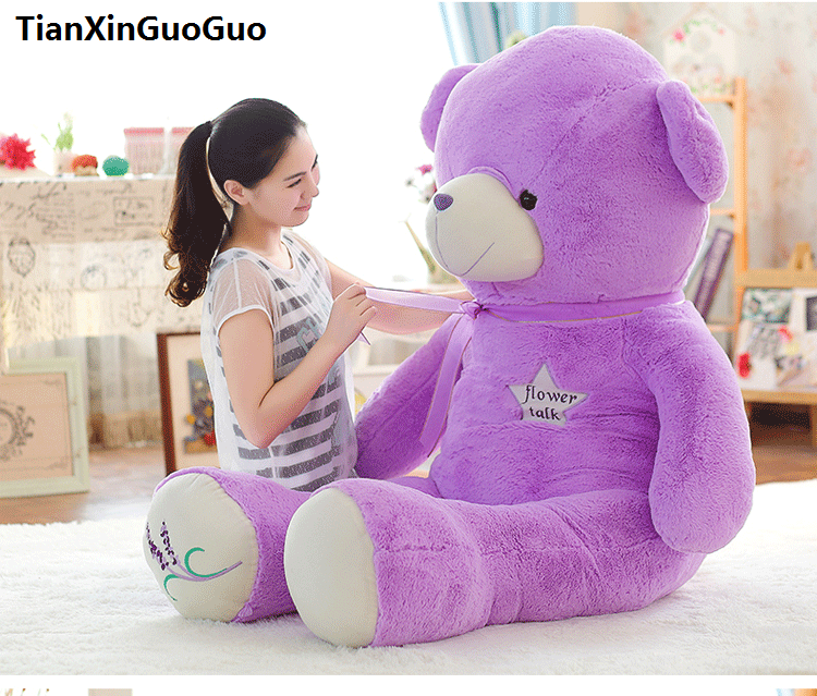 stuffed toy huge 150cm purple teddy Bear plush toy silk belt bear doll hugging pillow Christmas gift b0800 stuffed animal 120 cm cute love rabbit plush toy pink or purple floral love rabbit soft doll gift w2226