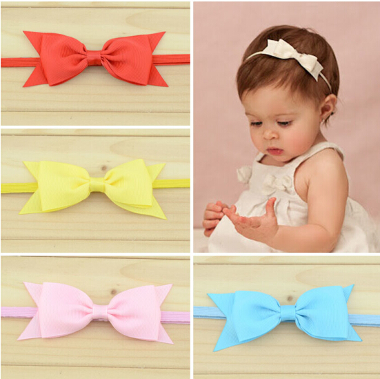 1pc Baby's bow hairband  hair accessories  flower worn edges headband baby satin ribbon hair band 13 colors