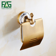 FLG Antique Bronze Toilet Paper Holder Brushed Ceramic Base Tissue Box Roll Space Aluminum Bathroom Accessories