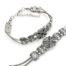 New Classic Fashion All-match Pure Natural ibetan Silver Bracelet Fashion Top Quality Folk Style Bracelet DIY Circular Female