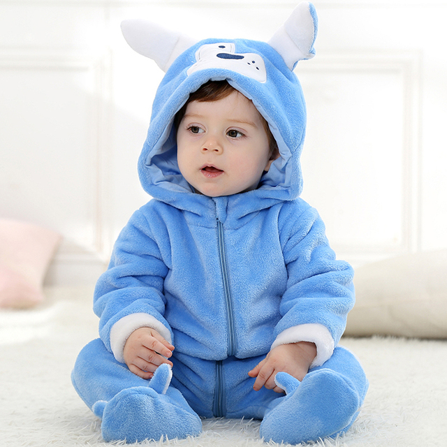 7ebcd8b24 Spring Autumn Flannel Children's Hooded Rompers Blue Cartoon Dog Baby Boy  Zipper Jumpsuits Toddler Clothes Infant Onesie Overall