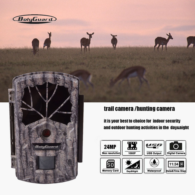 Bolyguard Trial Hunting camera 24MP night vision 1080P camera chasse Wildlife Camera Black IR Waterproof video PhotoTrap
