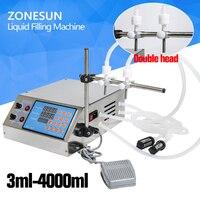 ZONESUN Double Head Nozzle Liquid Perfume Water Juice Essential Oil Electric Digital Control Pump Liquid Filling