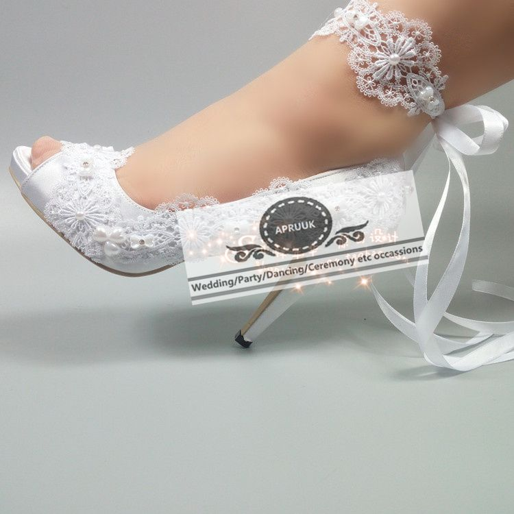Pure White Satin Wedding Shoes Bride Lace Pearls Plus Size