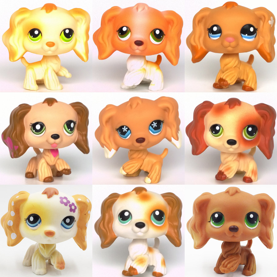 Rare Pet Shop Lps Toy Spaniel Dogs #748 #960 #672 #575 Old Original Kids Toys Girls' Collection Animals Figures