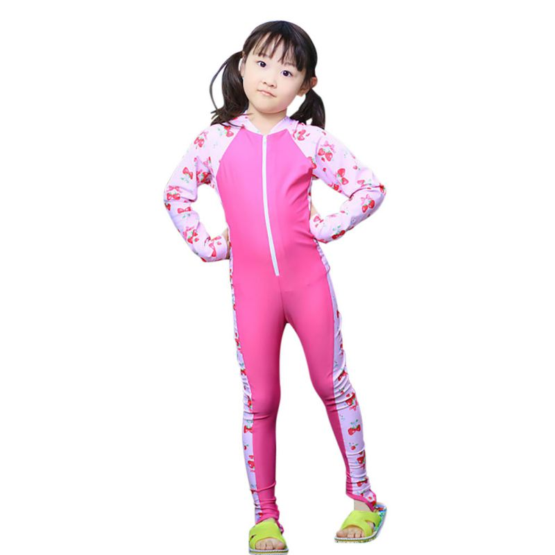Swimwear Surfing Bathing-Sui Long-Sleeve Girls One-Piece Children Patchwork Boys Plus-Size