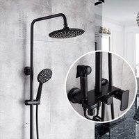 Black Copper Body Four baffle Supercharged Furniture Washing Gun Spray Shower Set Sand Matt Mixing Valve Shower