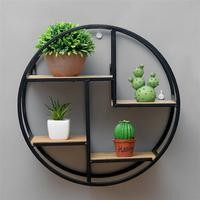 Round Wall Mounted Iron Shelf Floating Shelf Wall Storage Shelf for Pantry Living Room Bedroom Kitchen Entryway