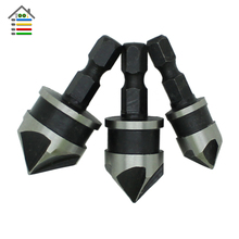 3pcs 1/2″ 5/8″ 3/4″ Hex Shank 5 Flute 90 Degree Black Oxide Countersink Drill Bit Set Chamfering Tool Wood End Milling Cutter