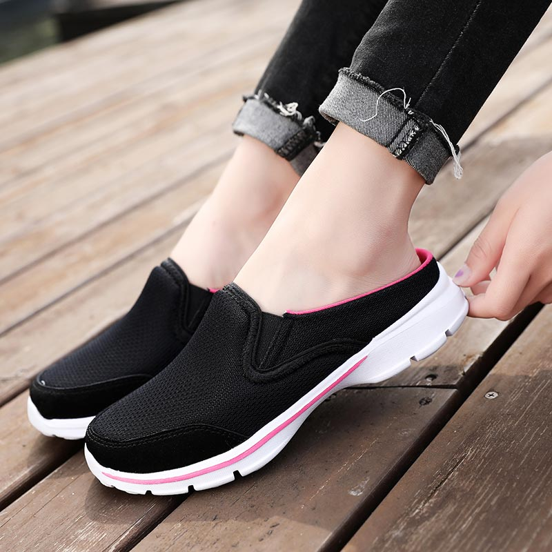 Plus Size Half Running Shoes Woman Breathable Lady Sports Shoes Light Weight Female Sneakers Slip-on Sport Shoe Black Mesh A-327