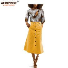 2018 african clothes skirt top set for women AFRIPRIDE three quarter sleeve o-neck top+mid-calf length trumpet skirt A1826003 layered trumpet sleeve botanical top