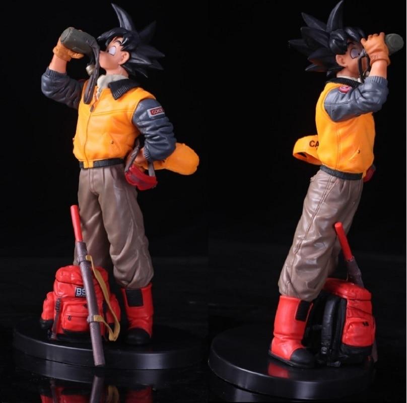 20cm Anime Dragon Ball Z Action Figure Son Goku Drinking Water Dress Man Clothes Scene PVC